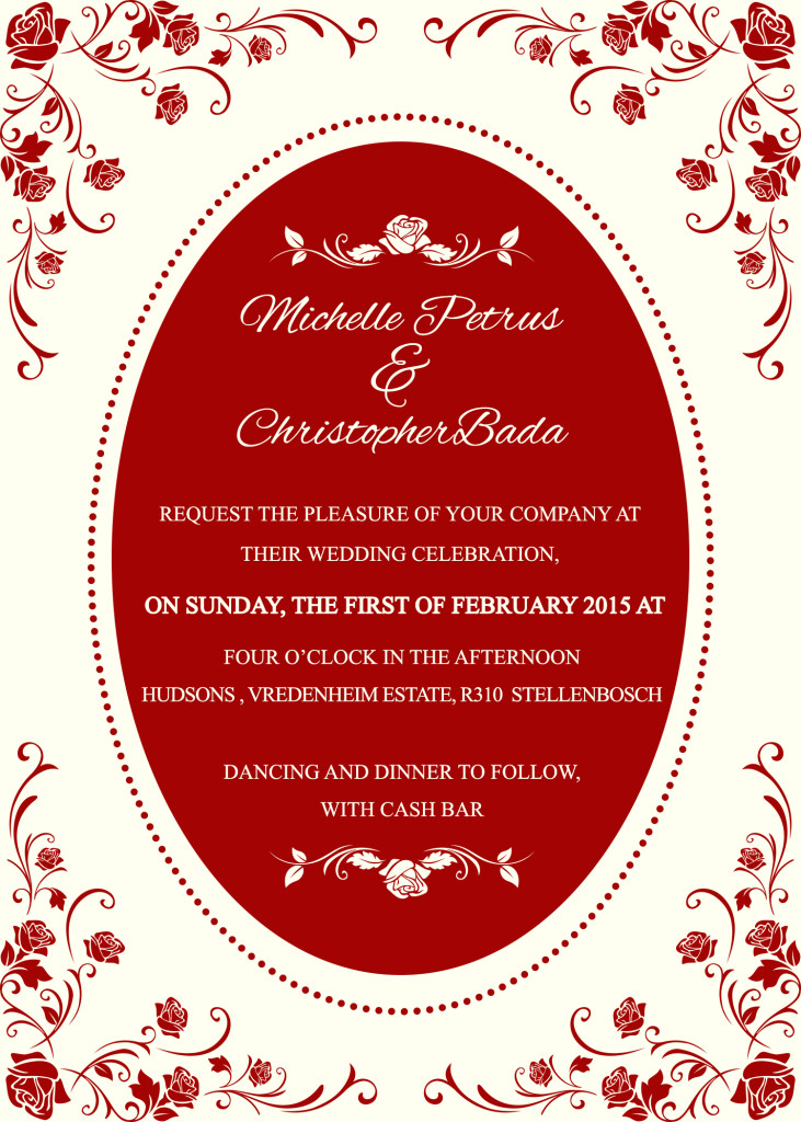 Michele Pterus and chris wedding invite